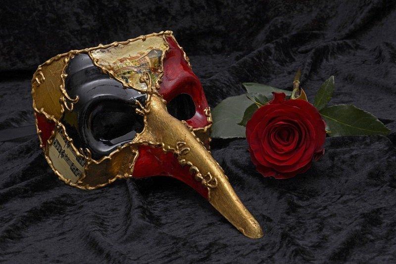 Maska karnawałowa i róża